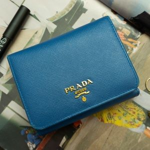 PRADA Saffiano Leather Flap Wallet in Blue